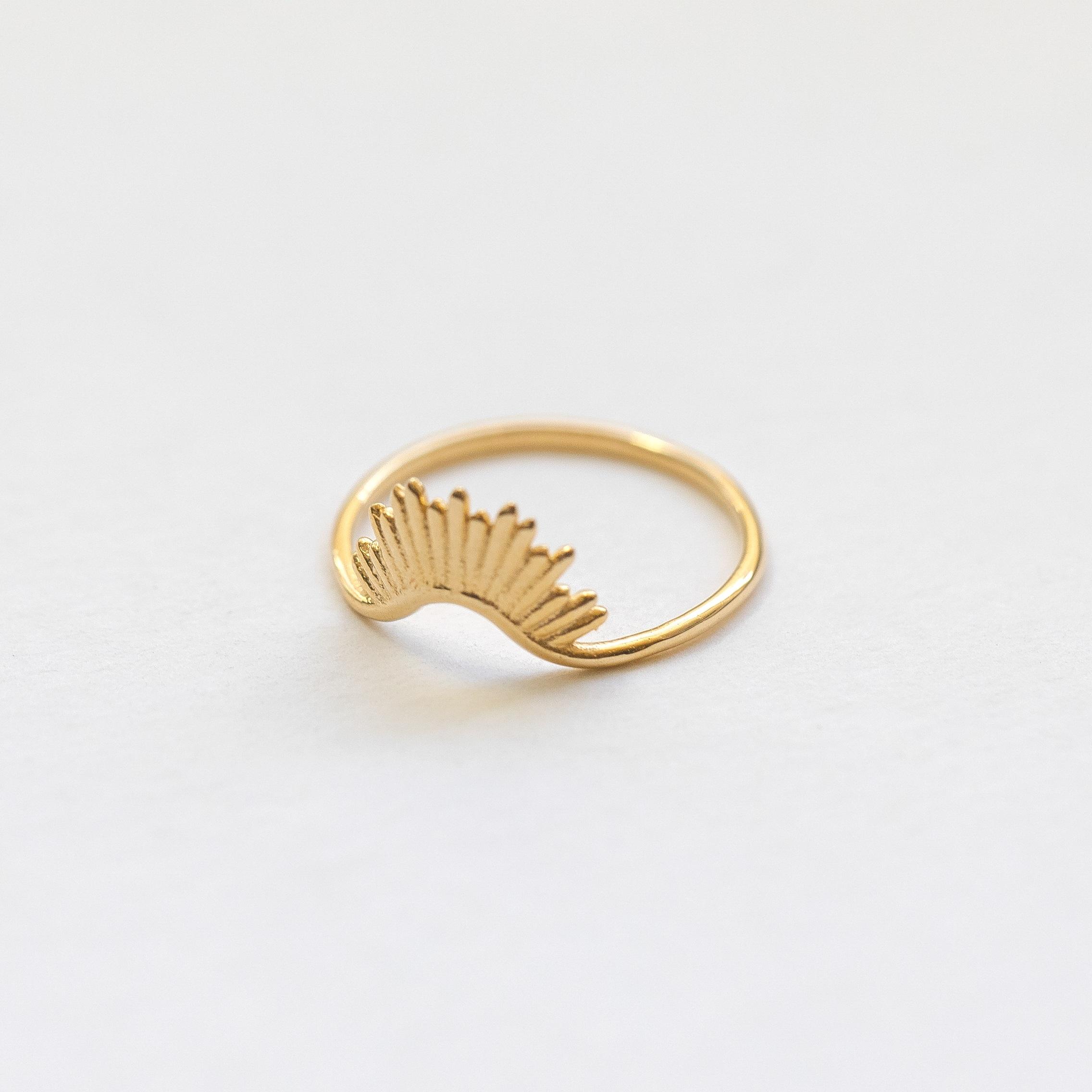 engagement ring rising sun ring solid 14K gold ring circle ring 585 gold Sterling silver ring.