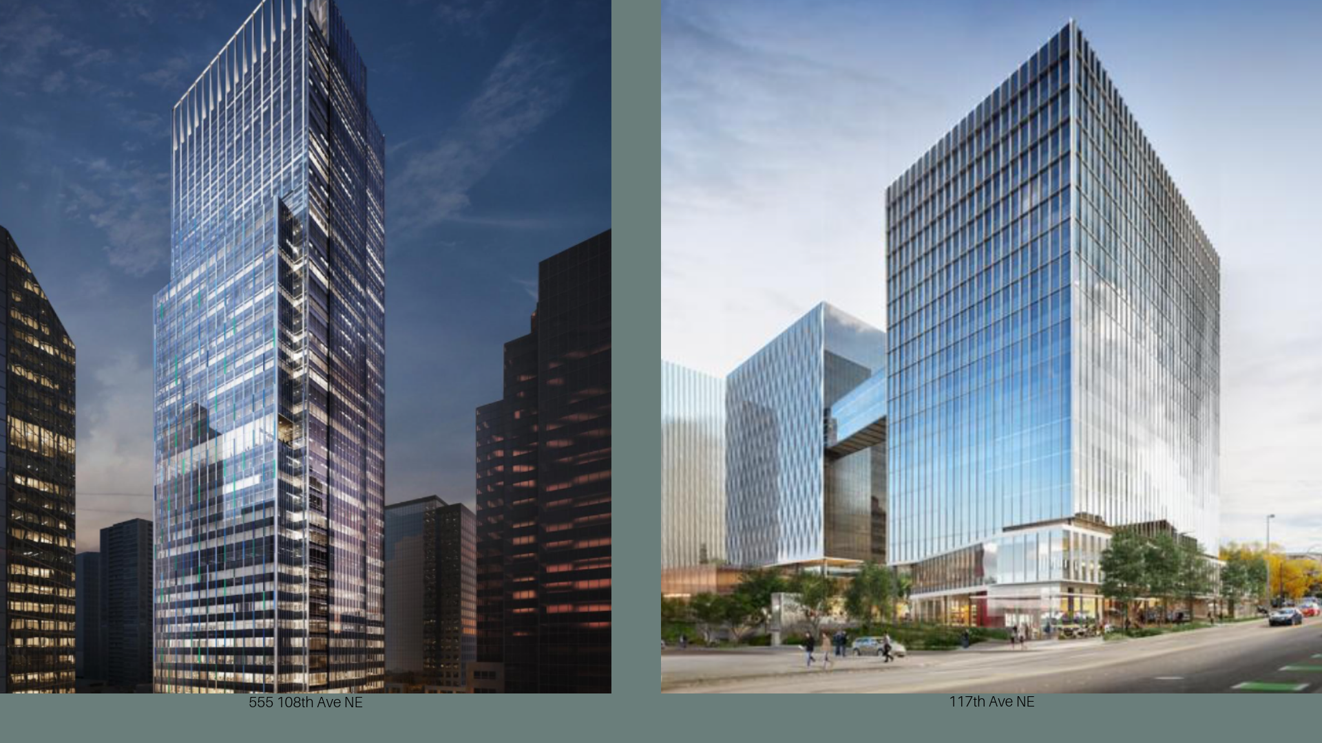 Seattle based Paul Allen company, Vulcan Real Estate is planning two very major projects in downtown Bellevue. The first of them being a 600-foot tower located at 555 108th Ave NE with 937,000 sqft of office space. The second planned project called Bellevue Plaza located at 117 106th Ave NE will feature 3 towers ranging from 16-17 stories with a total of roughly 1 million sq ft of office space. It is expected by market observers that Amazon - a company that is quick to bite when it comes to real estate, will lease both.
