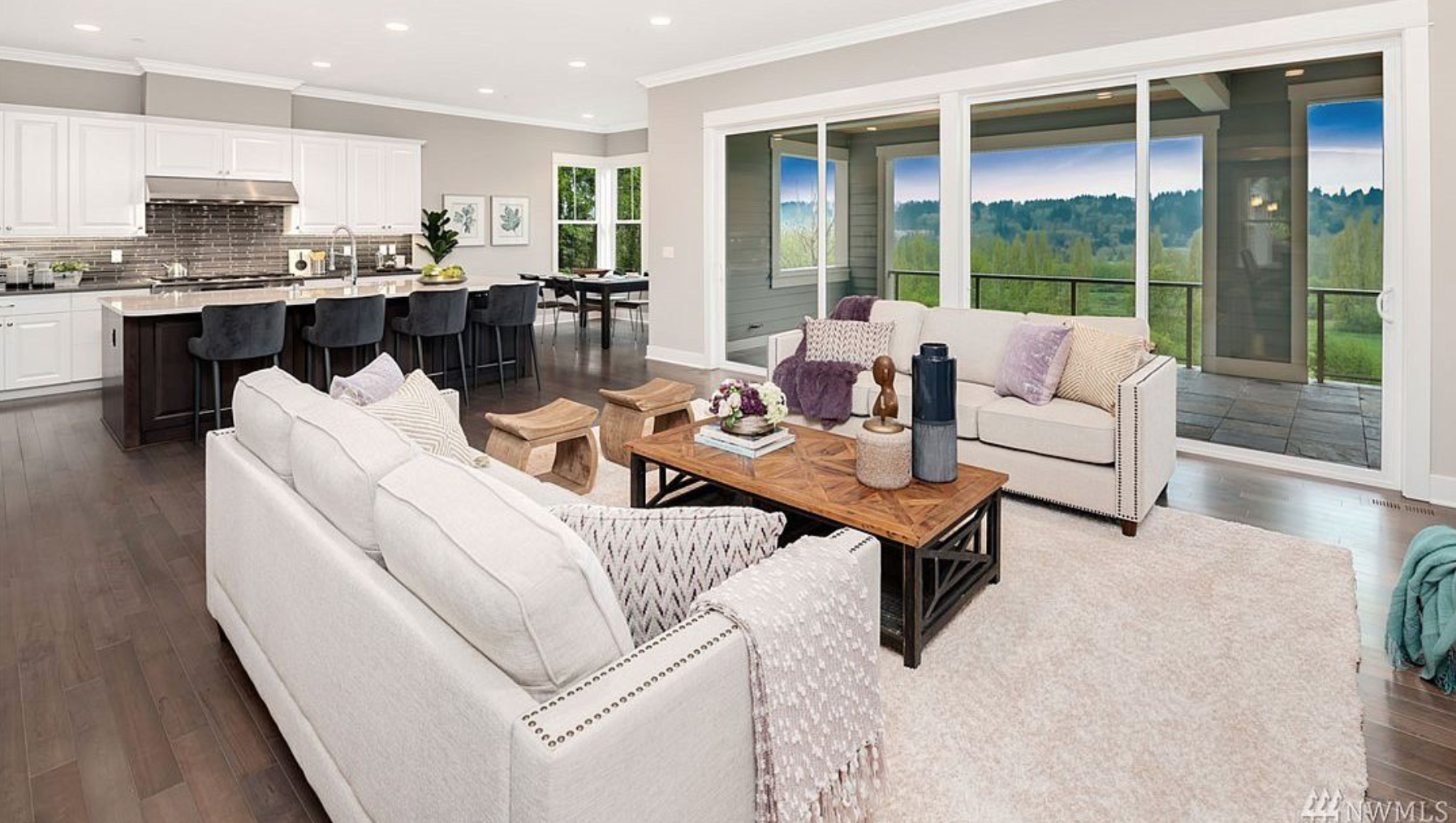 Featured here in one of the living rooms is one of three private terraces.