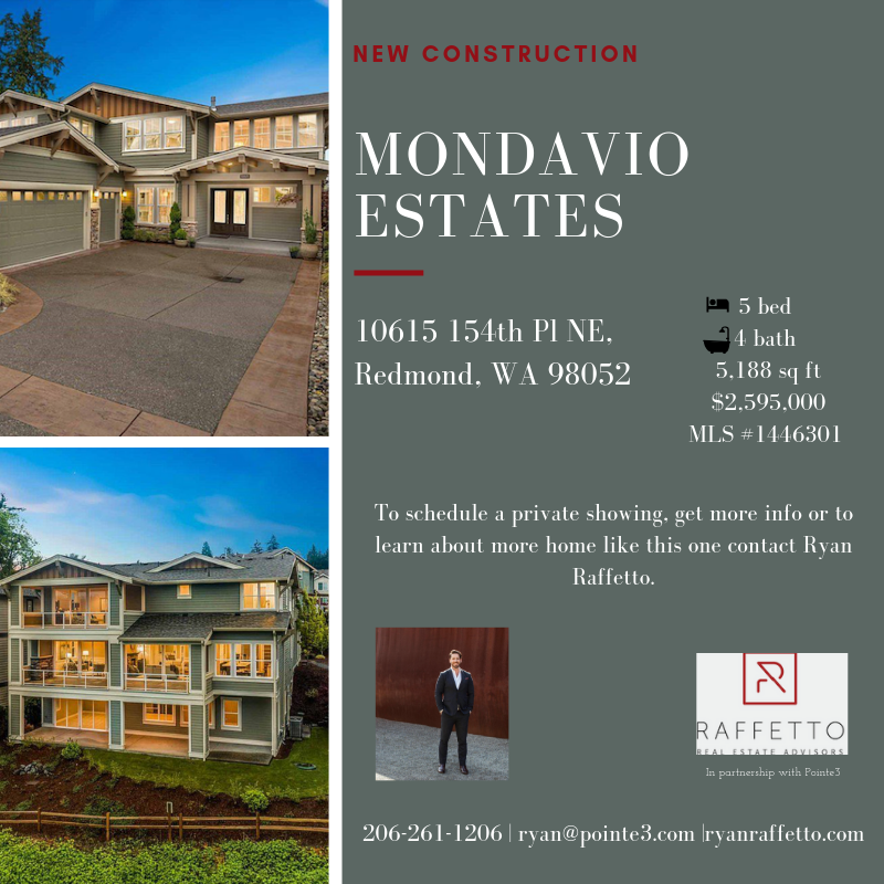 Looking to move from Seattle? This exquisite new construction home in Mandavio Estates by Redmond Ridge is not only a luxurious home, but a prime location in tech heavy Redmond. While living in Mandavio Estates you will be pleased to find a community with a small-town feel, fabulous homes, diversity, amazing schools, an abundance of job opprotunites and finally protected wetlands that offer views of the Sammamish Valley and exclusive access to the Burk-Gilman Trail, all of which are sure to impress. To learn more about how Redmond ranks among other towns in Washington click    here    .