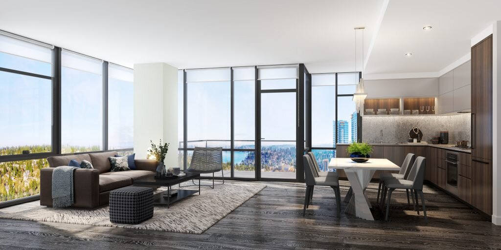 Endless light and views from this West tower living area.