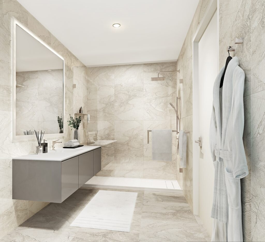 Light and luxe West tower bath.