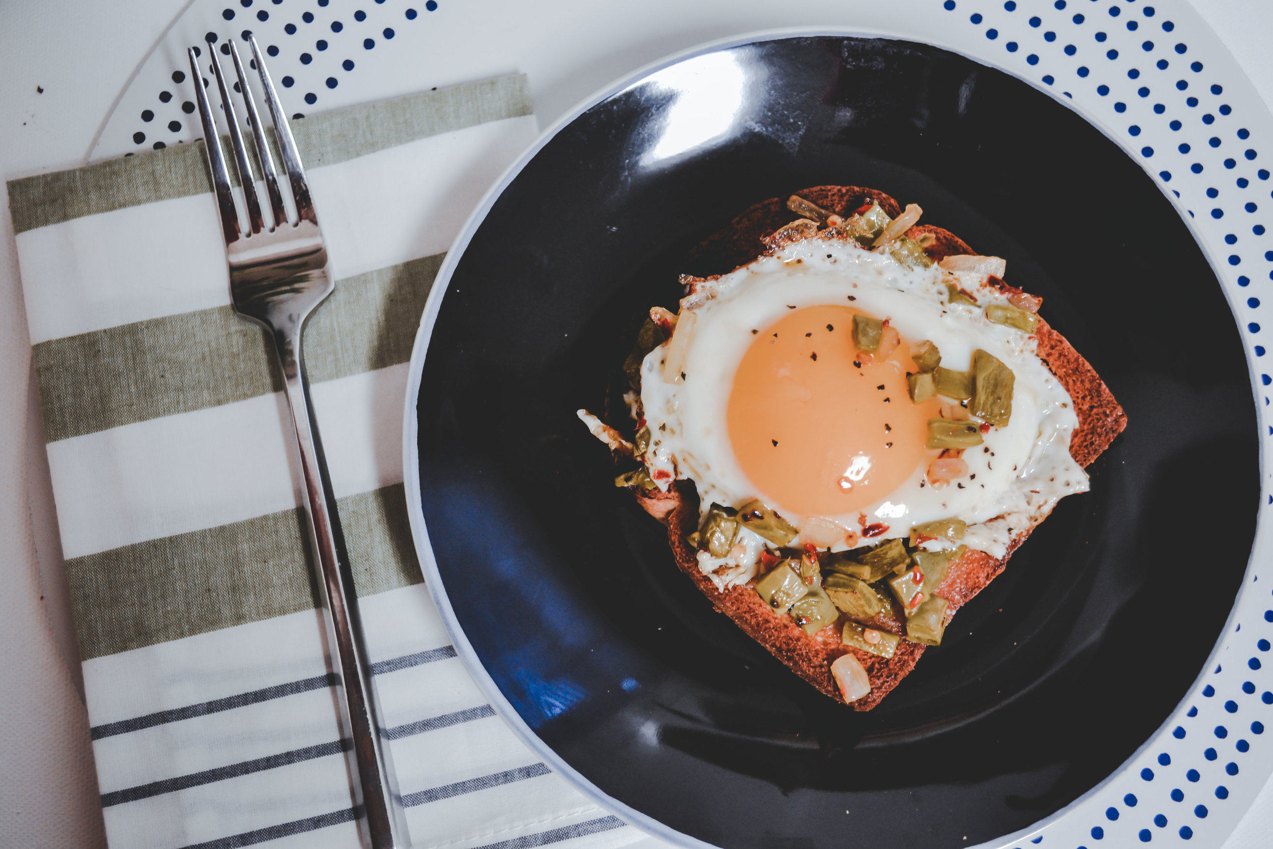 Nopales with Eggs and Toast