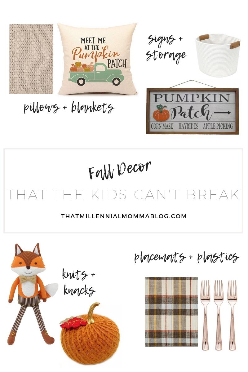 Pillow  |  Pumpkin patch sign  |  cream basket  |  plastic rose gold cutlery  |  fox  |  placemat  |  knit pumpkin  |  mustard knit throw