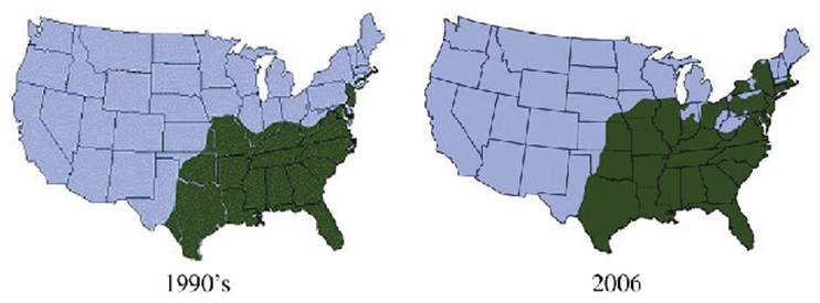 Lone Star Tick Distribution, from 1990 to 2006
