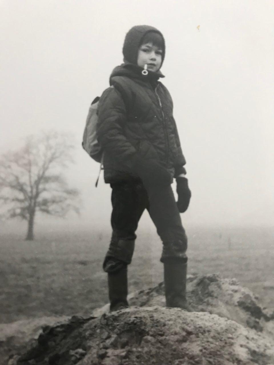 1972: als ontdekkingsreiziger, pijprokend en met rugzak.
