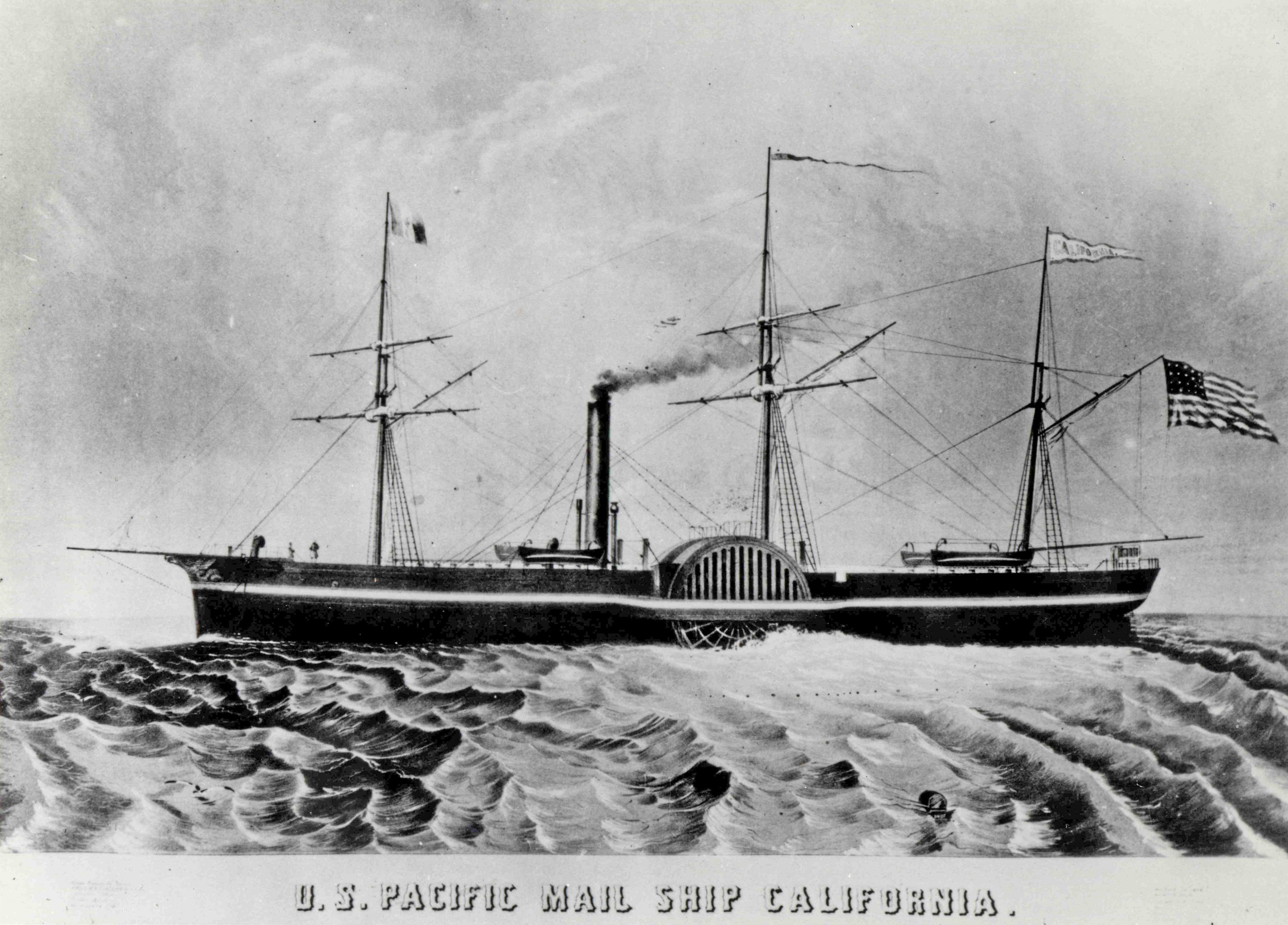 Image courtesy of Wikipedia. Click/tap  here  to learn more about the SS California (1849).