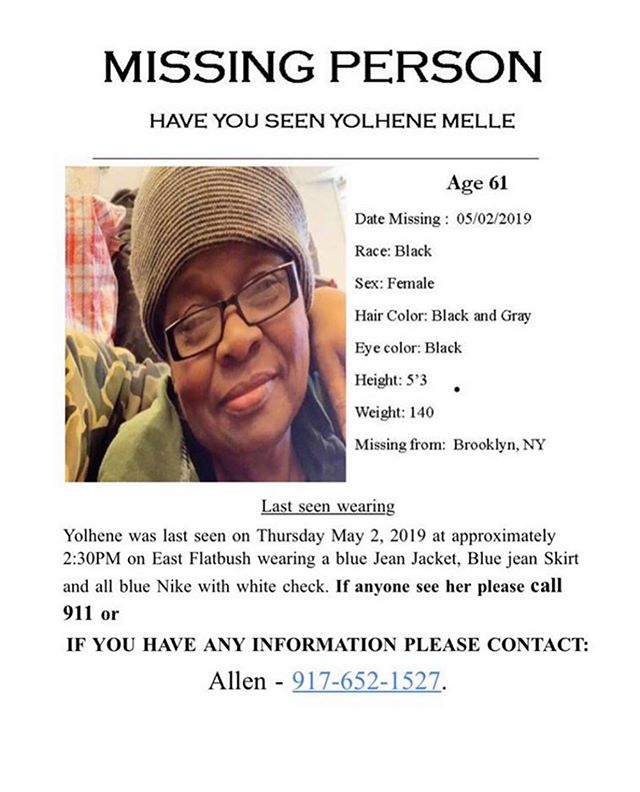 This is my lovely aunt. She's been missing for a few days now. I'm asking anyone who is in the Brooklyn NY area or the boroughs to please report if you see her. Thank you in advance.