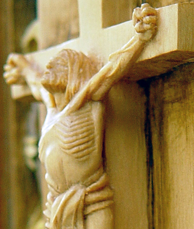 "Crucifix, detail, limewood. Figure is 6"" tall, complete piece is 12"" tall."