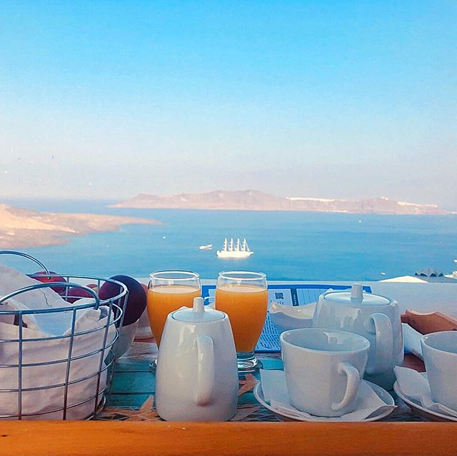 Morning view in Santorini... #santorinigreece #santorini #greece #fira #kamaresapartments #islandlife #vacation #sea #travel #vacation #view #greekislands #instaview #instatravel #travelgram