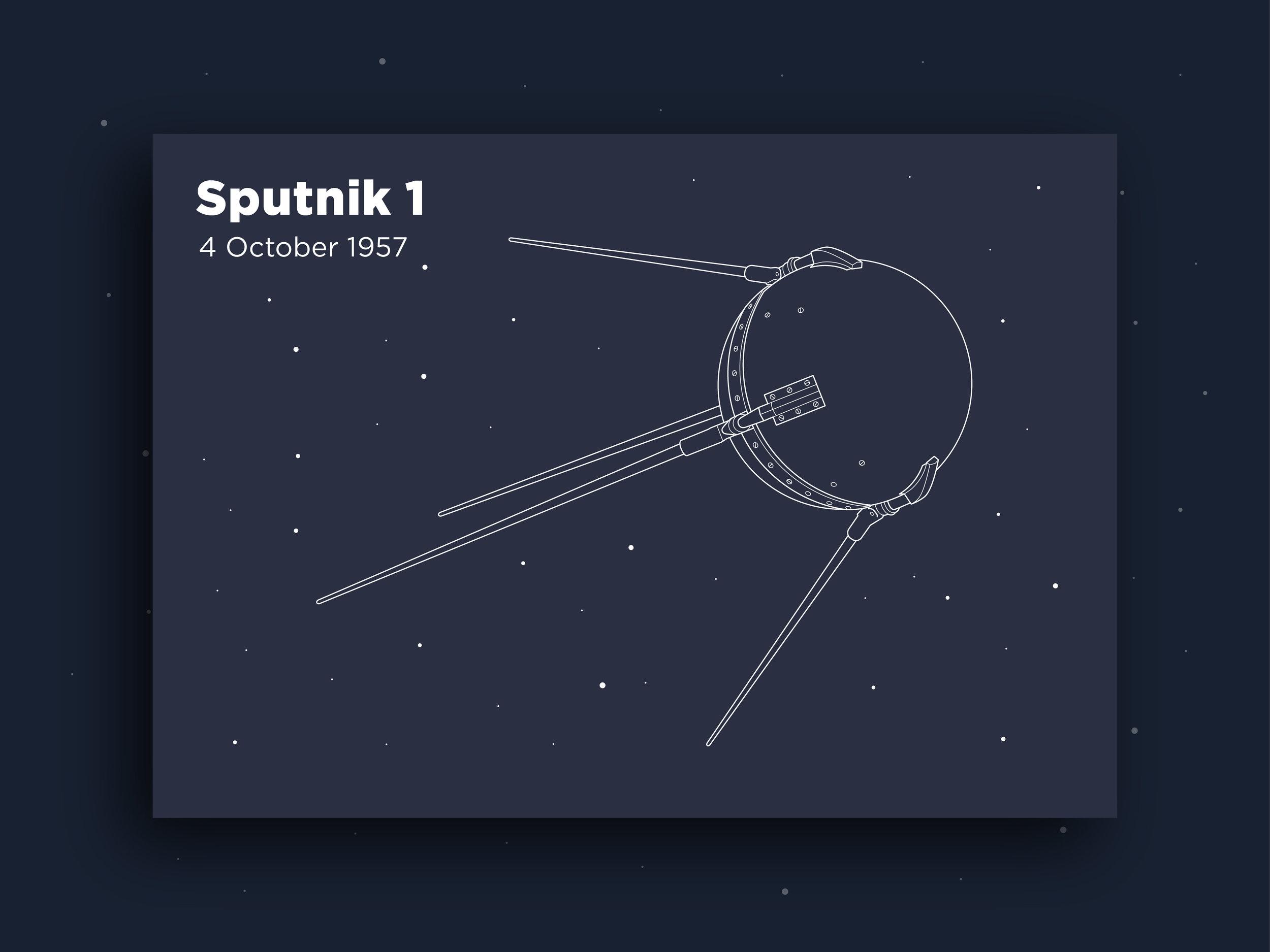 Orbit Infographic postcard sputnik illustration