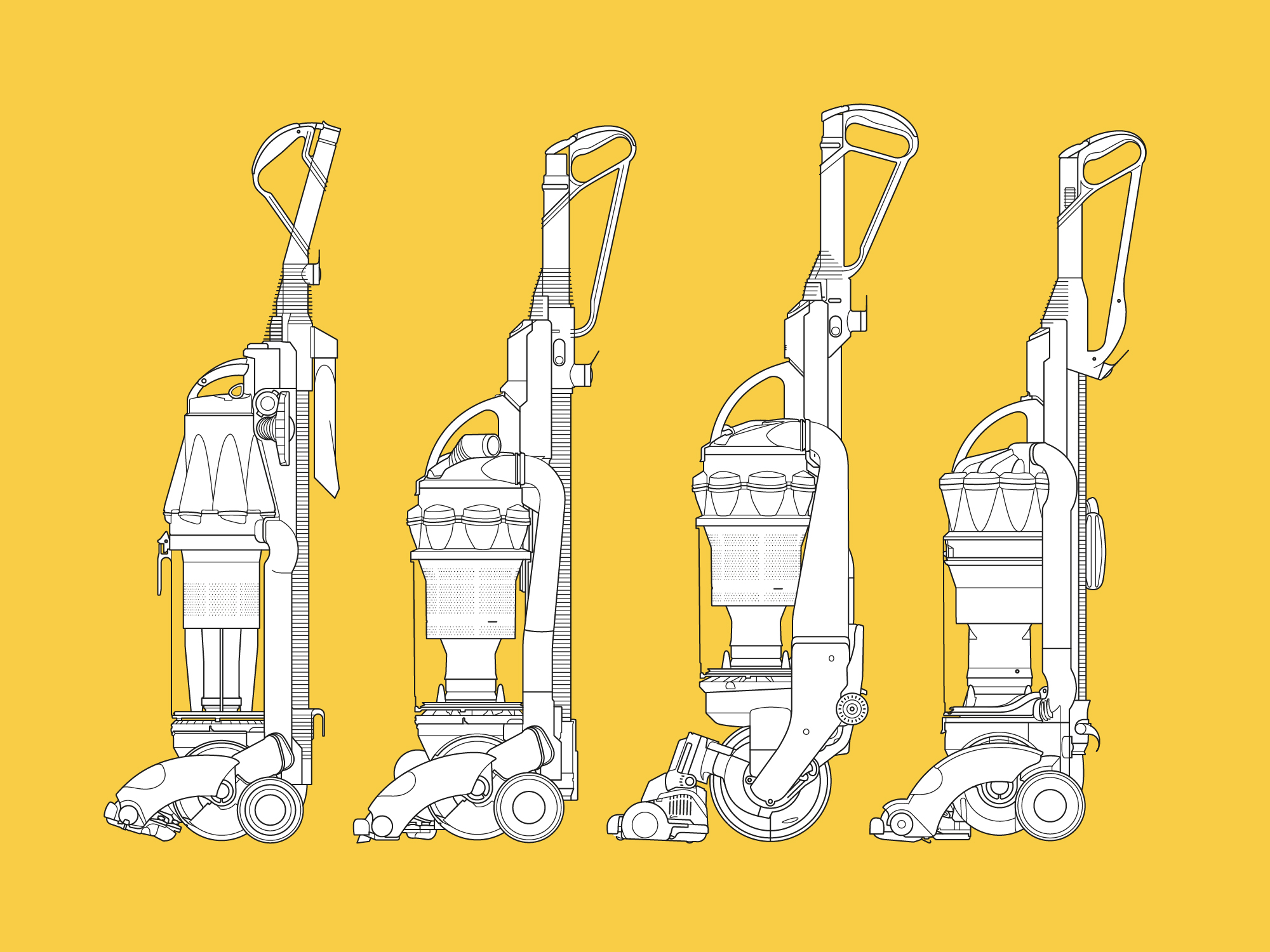 Dyson – stand up vacuum technical illustrations yellow