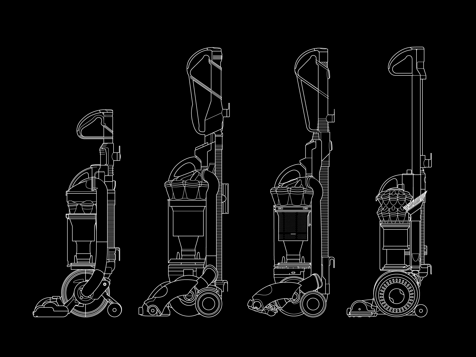 Dyson – stand up vacuum technical illustrations black
