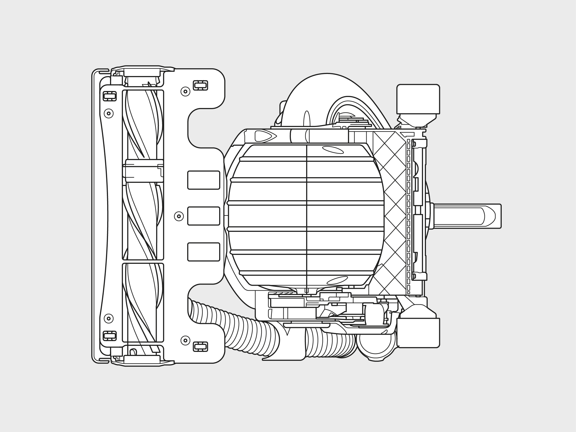 Dyson – stand up ball vacuum technical illustrations top left