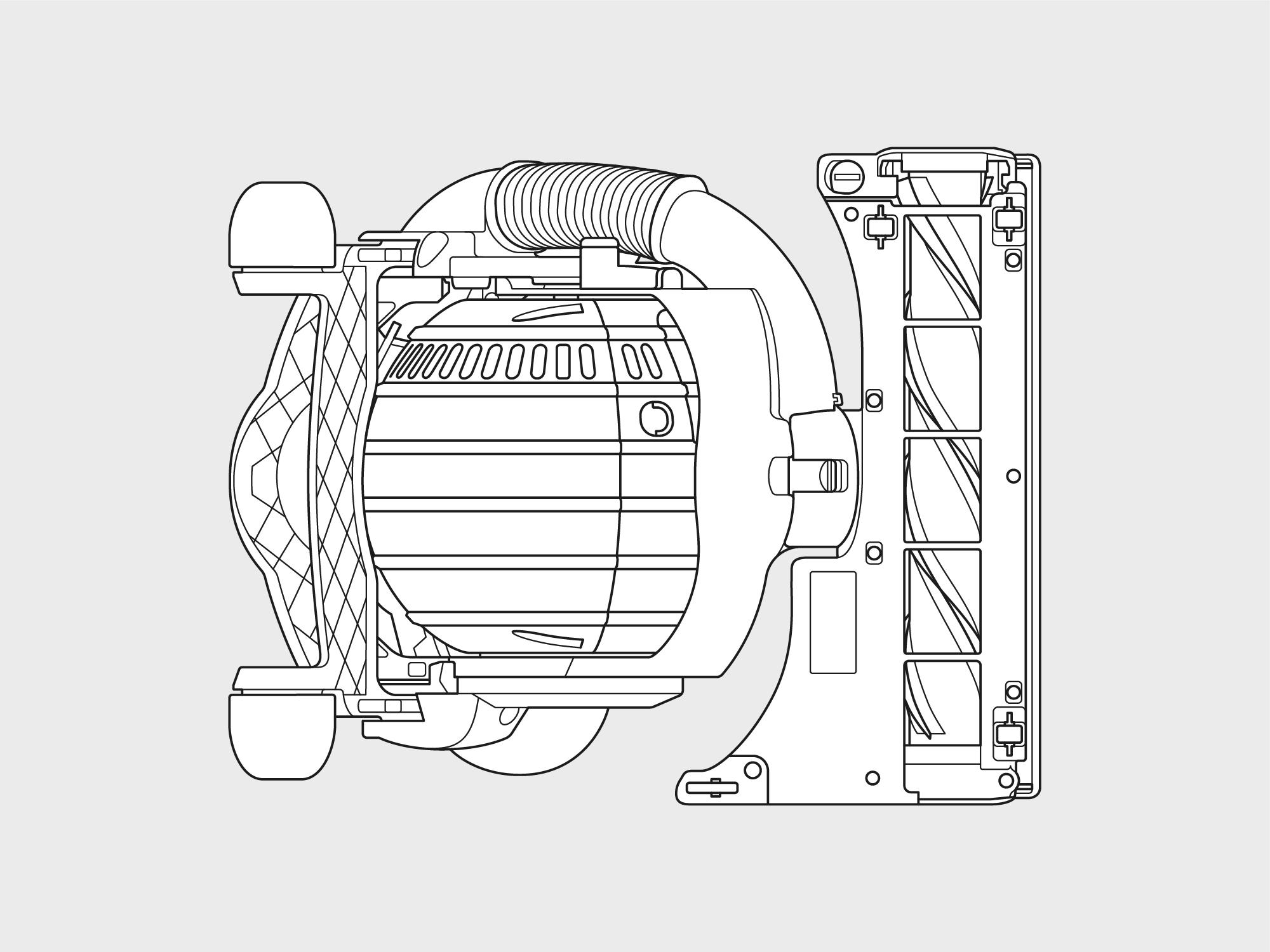 Dyson – stand up ball vacuum technical illustrations top right