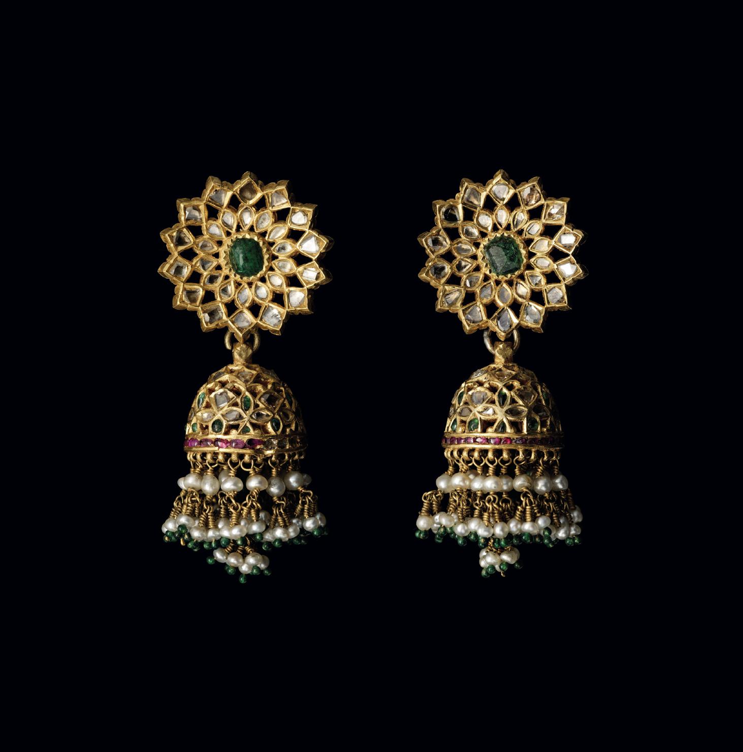 A PAIR OF MAHARANI JIND KAUR'S EARRINGS