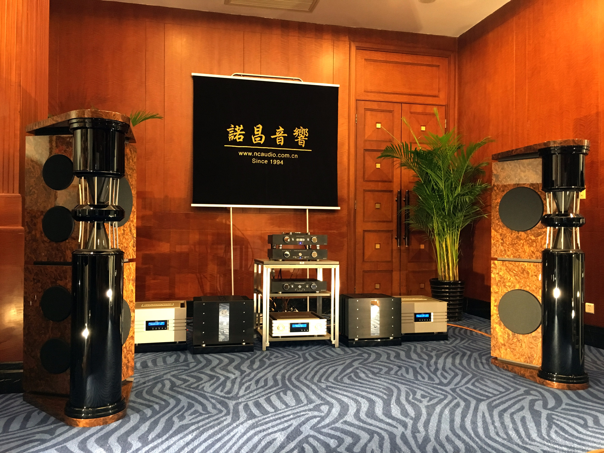 PQS-402 loudspeakers in French walnut cluster | Shanghai Show 2018, China