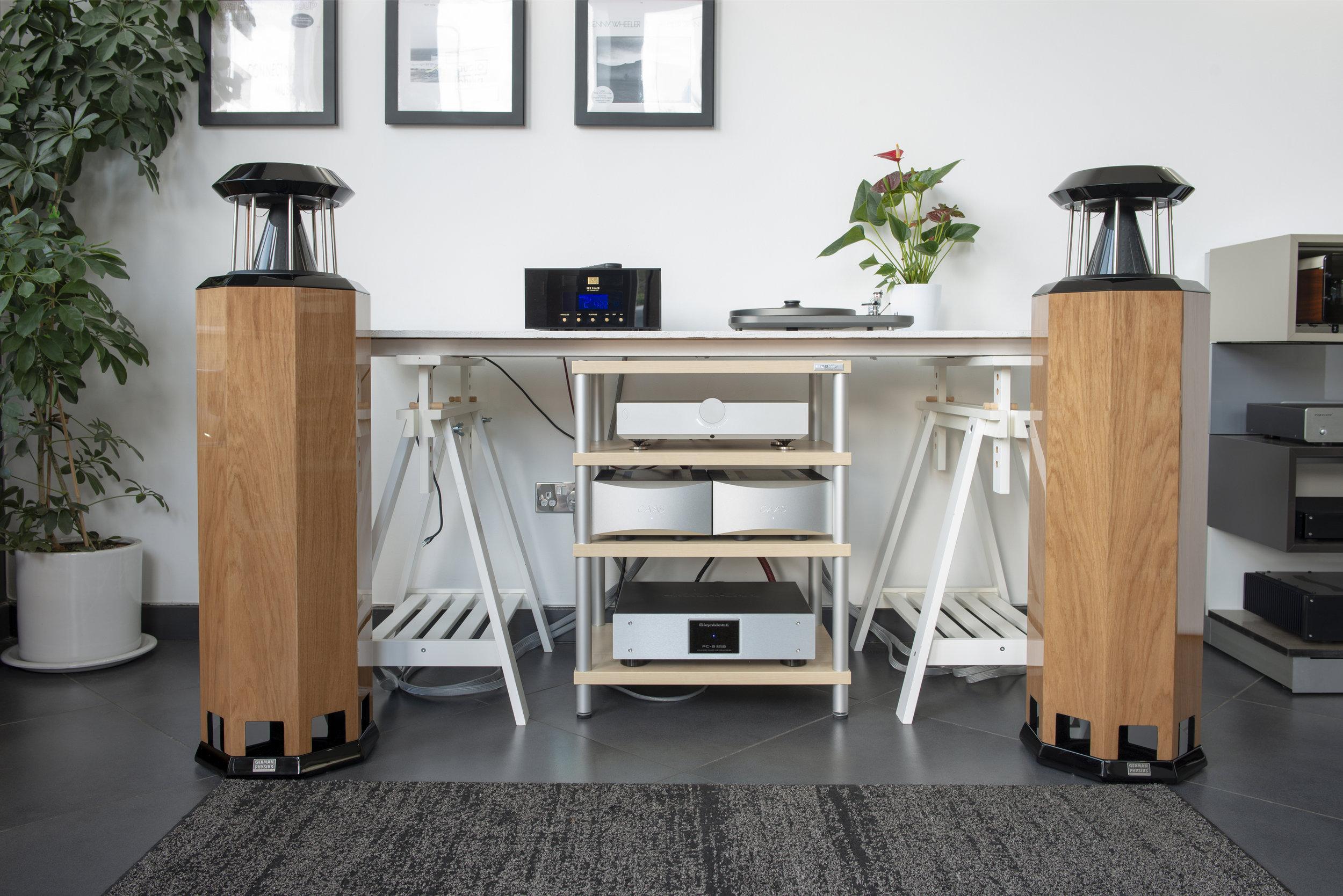 HRS-130 loudspeakers in high polish oak with CAAS Audio electronics | Audio-philia, Edinburgh, Scotland