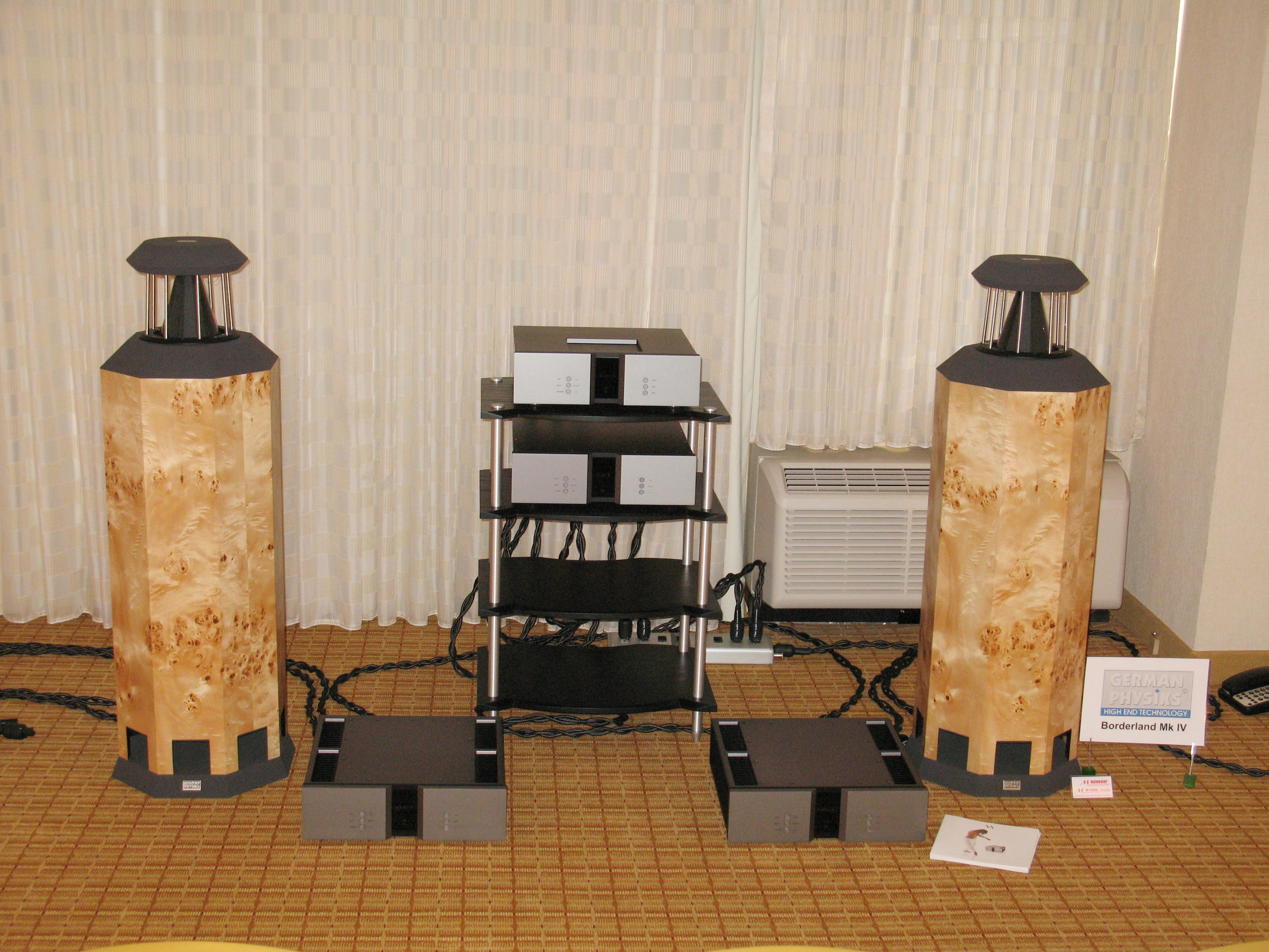 Borderland MK IV loudspeakers in mappa burl with Vitus Audio electronics | Rocky Mountain Audio Fest 2009, Denver, USA
