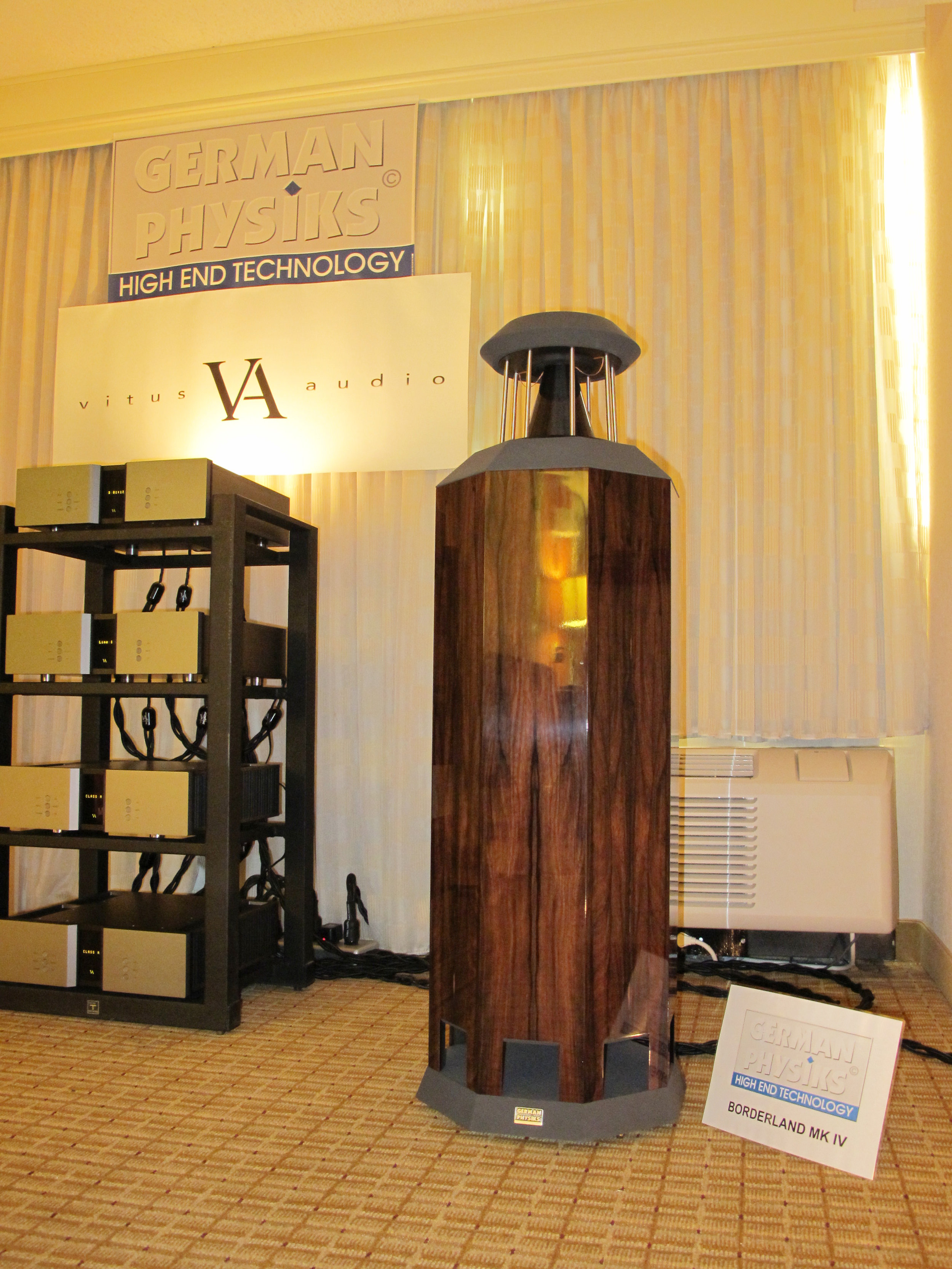 Borderland MK IV loudspeakers macassar high polish with Vitus Audio electronics | Rocky Mountain Audio Fest 2010, Denver, USA