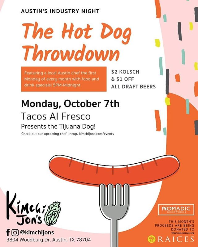 Sup dawg? We're having a lil hot dog party/industry night next Monday from 5pm until midnight.   @nomadicbeerworks has beers for wicked cheap! 🍻🍻🍻   @tacos_al_fresco is slinging dogs and raising money for @raicestexas 🌭🌭🌭 and plenty of other food deals!  Get your restaurant crew and come through (all are welcome tho 😁)