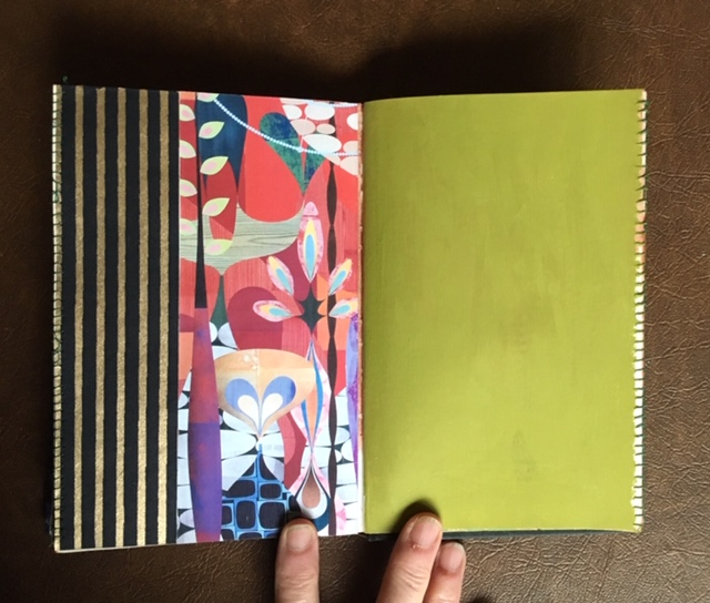 Some of the two page spreads included decorative papers I had in my paper drawers and paint that was left over so I used it to paint over pages.