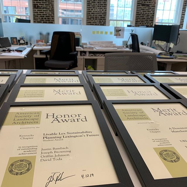 Awards signed and ready for tonight's ceremony! An empty office means everyone is out at conference field trips!