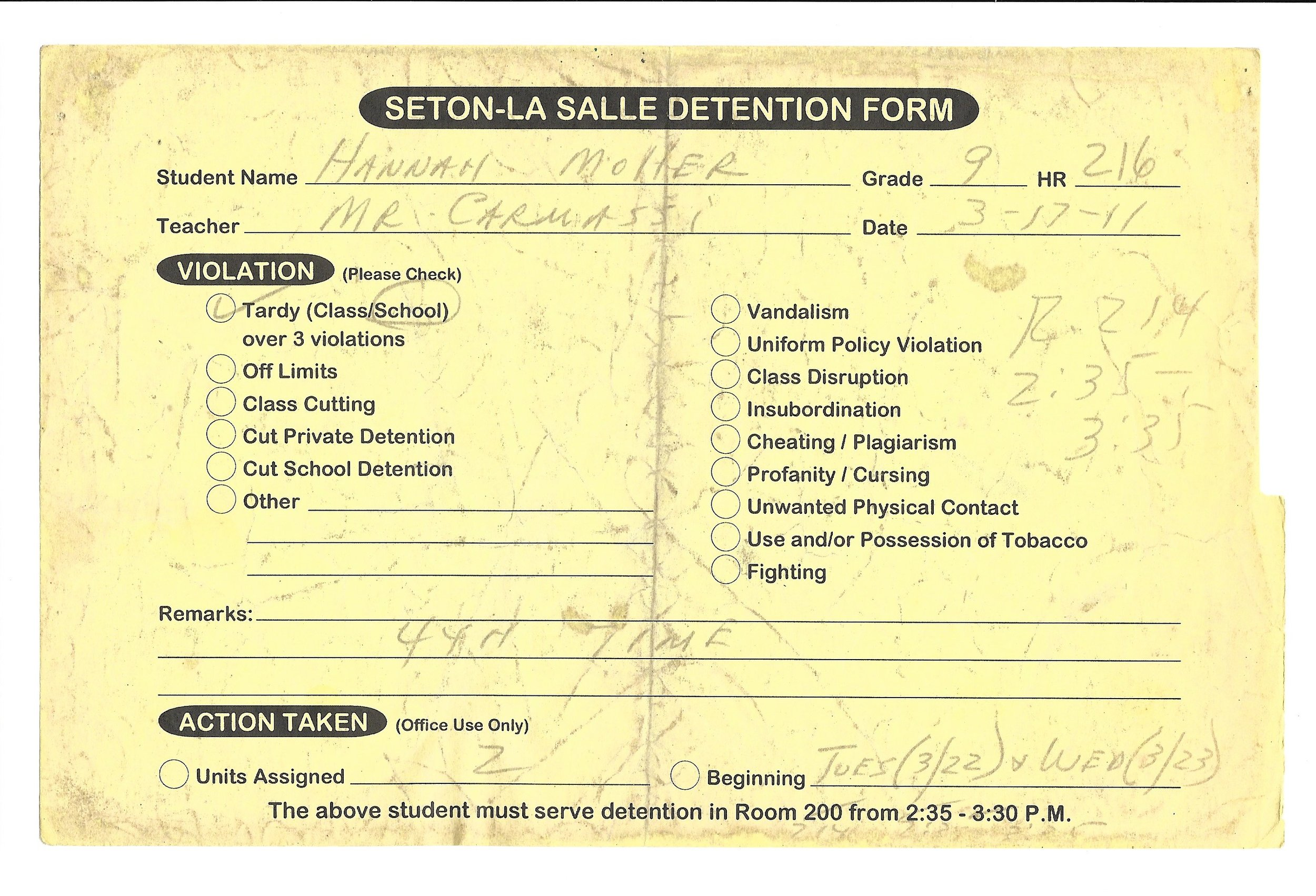 My High School Detention slips (2/15)
