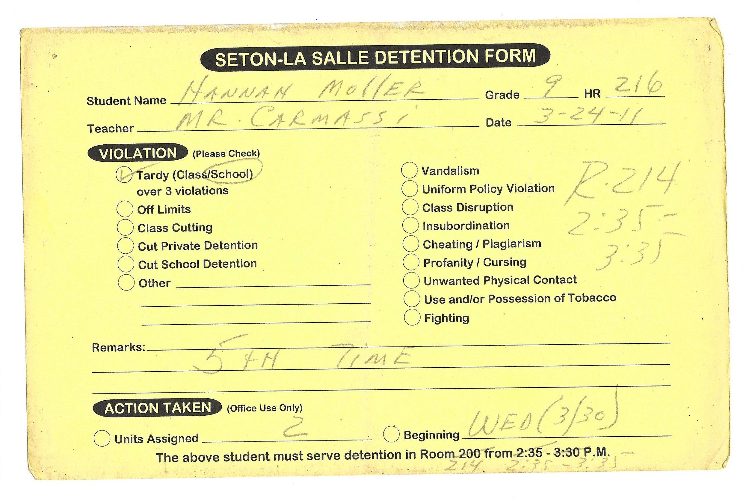 My High School Detention slips (3/15)