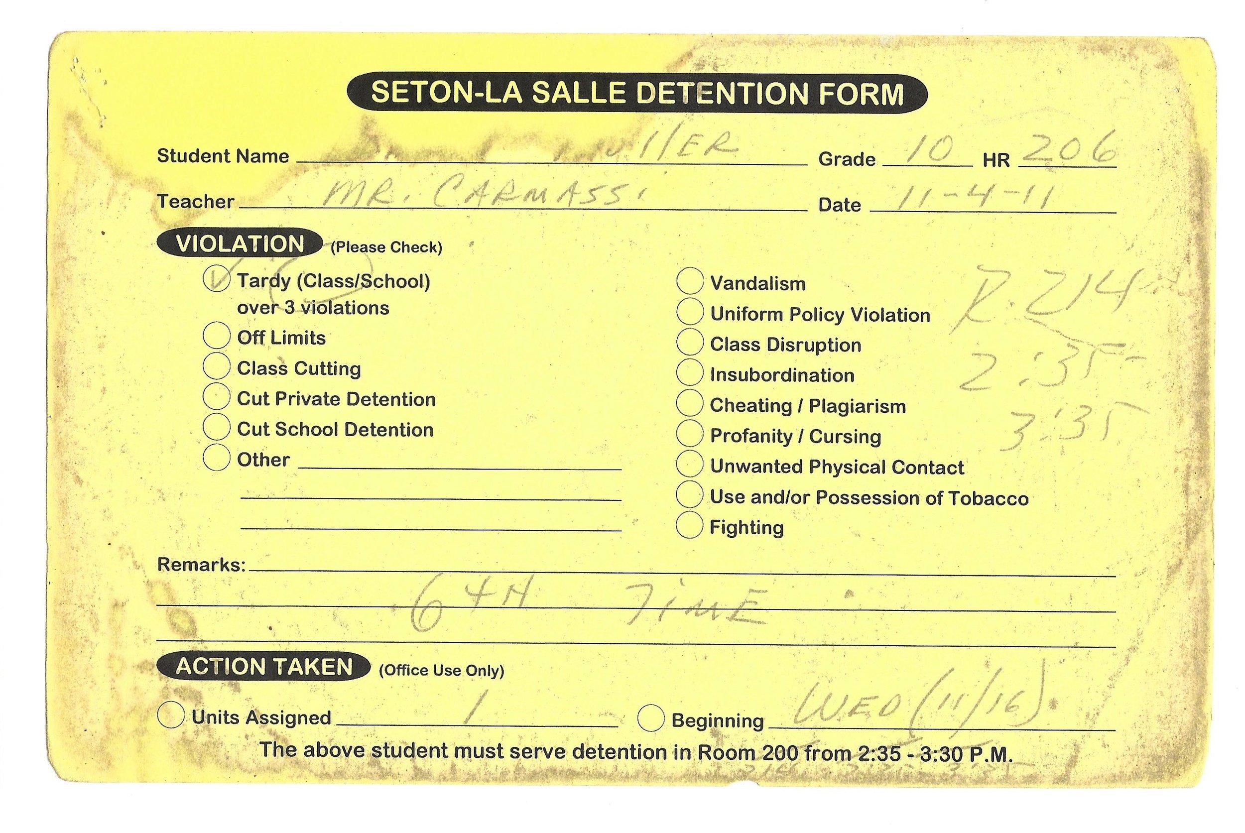 My High School Detention slips (6/15)