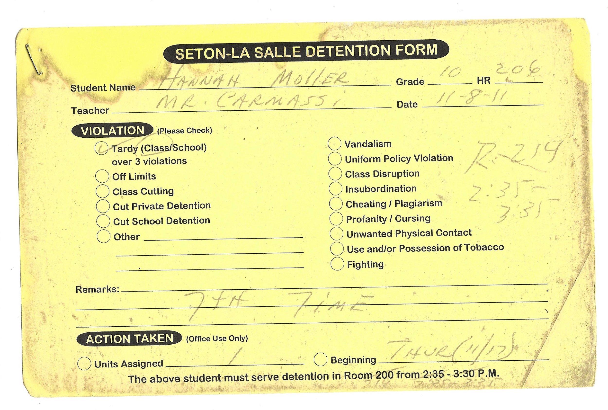 My High School Detention slips (7/15)