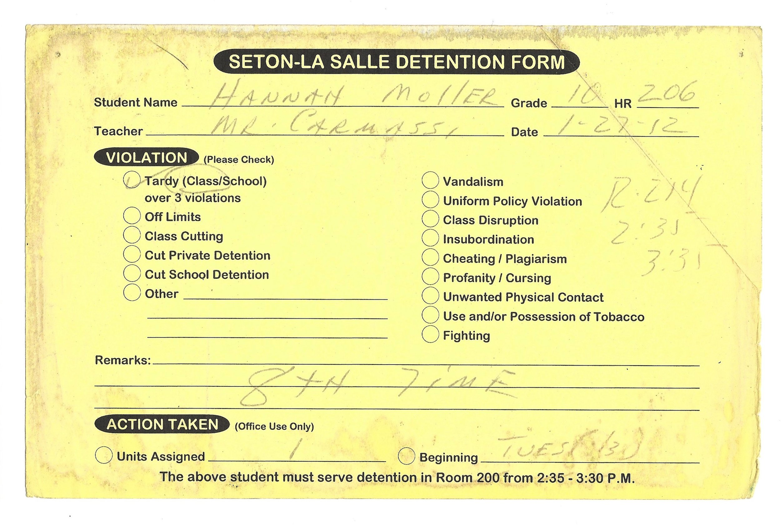 My High School Detention slips (8/15)