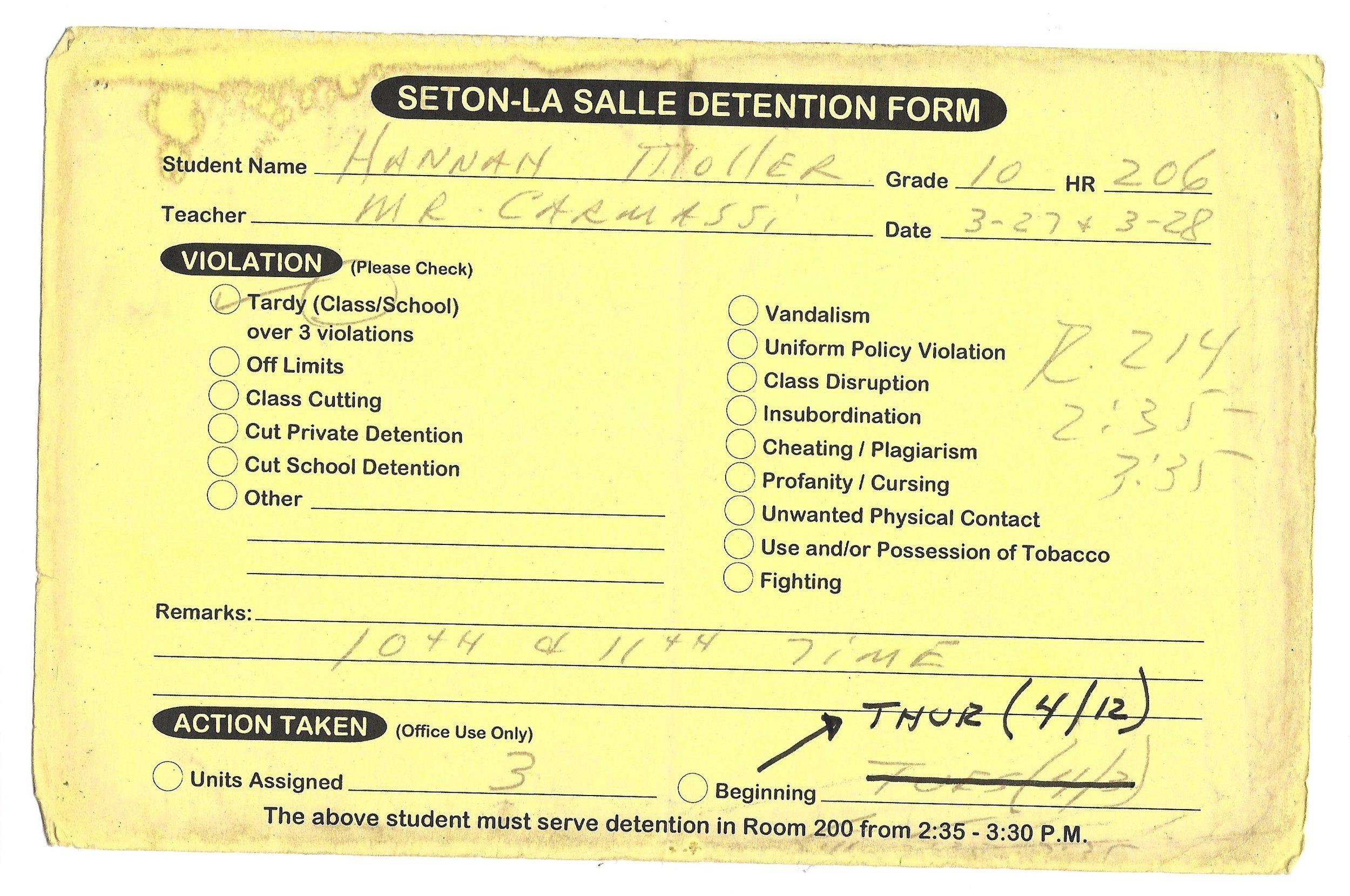 My High School Detention slips (9/15)