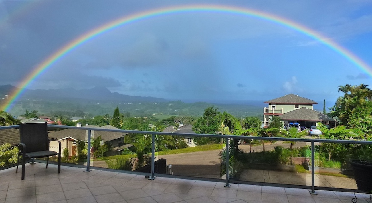 The view from the deck. Rainbows are a near daily occurrence here, but full rainbows are still special.