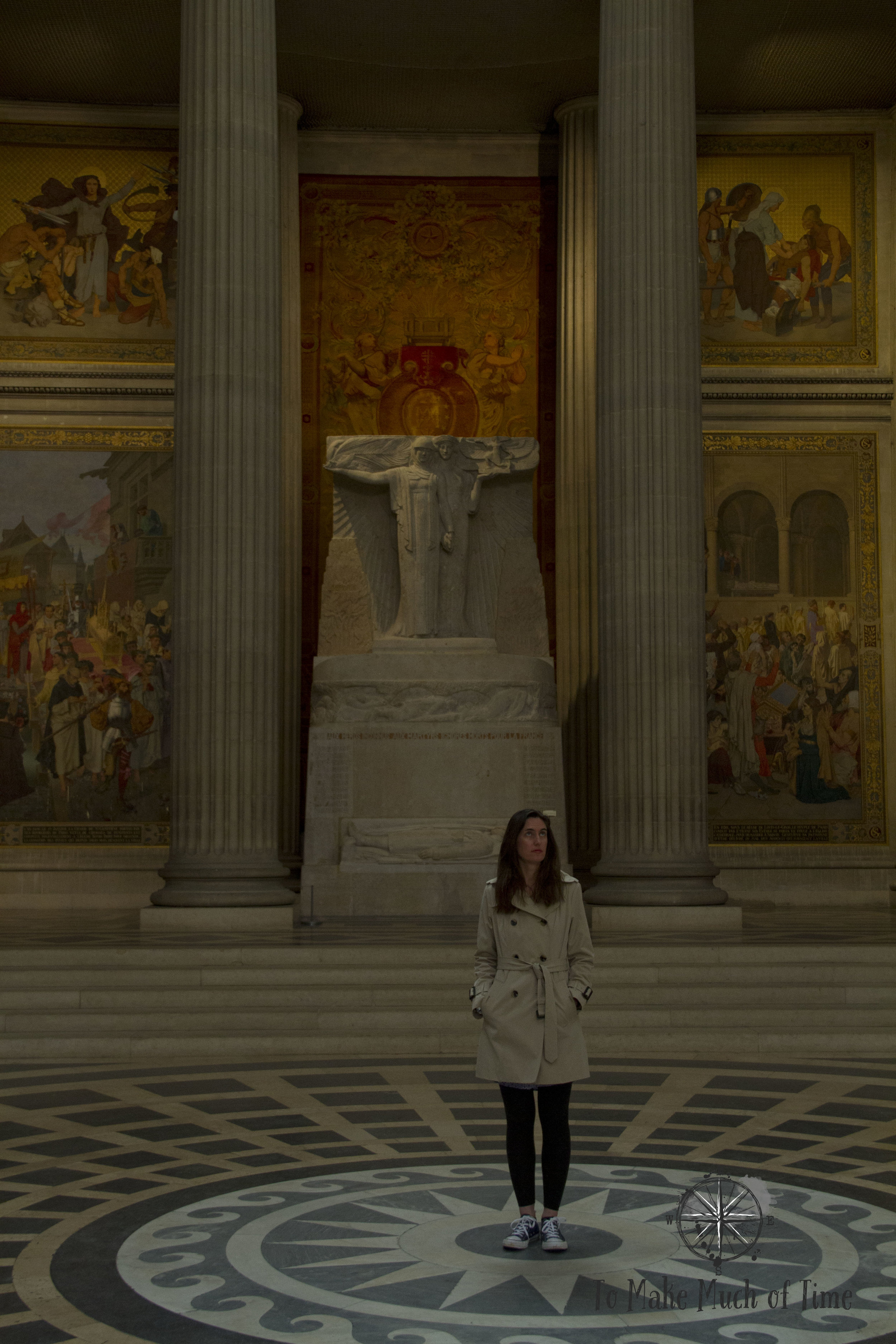 Lindsey feeling very small under the dome of the Pantheon in Paris.