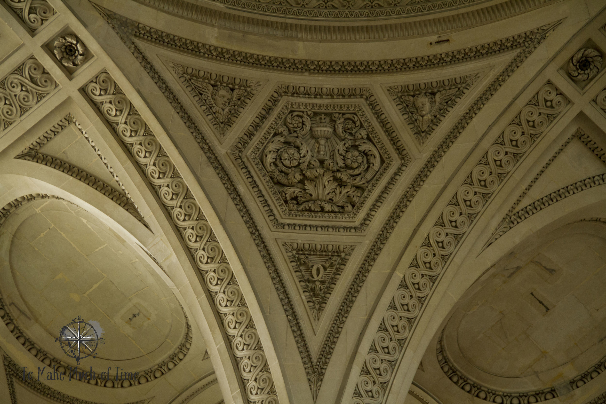 The detail on the ceiling adds to the grandiose and inspiring feel of the Pantheon.