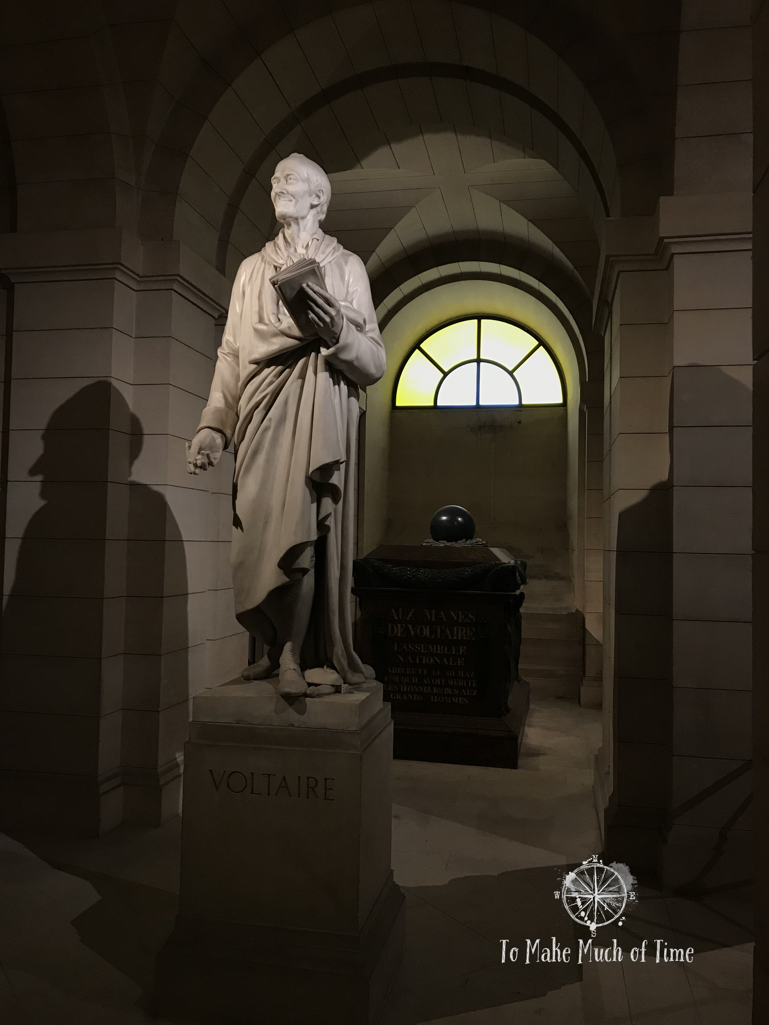 Voltaire holds a position of particular honor in the crypts below the Pantheon.