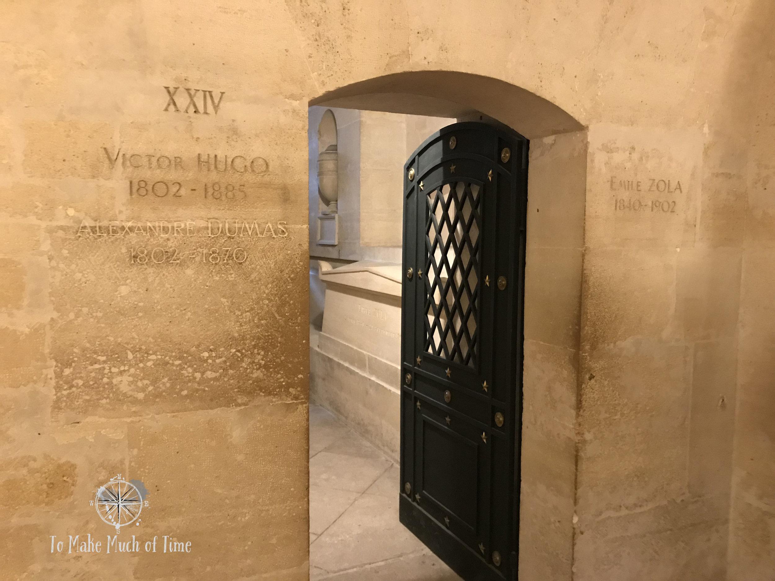Victor Hugo, Alexandre Dumas, and Emile Zola share a room below Paris' Pantheon.