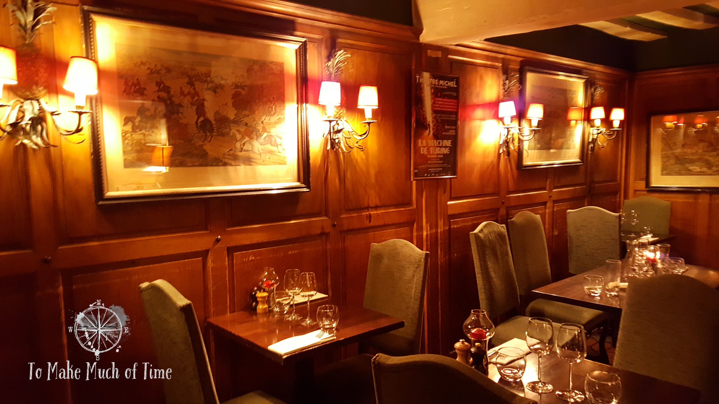 Warm wood tones and lighting give a welcoming and comfortable feel to dining at Le Coupe Chou. Can we move in??