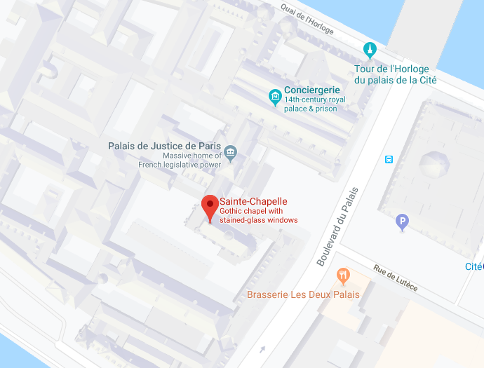 As you can sort of tell from this Google map, Sainte-Chapelle is actually contained within a courtyard of the Palais de Justice facility.