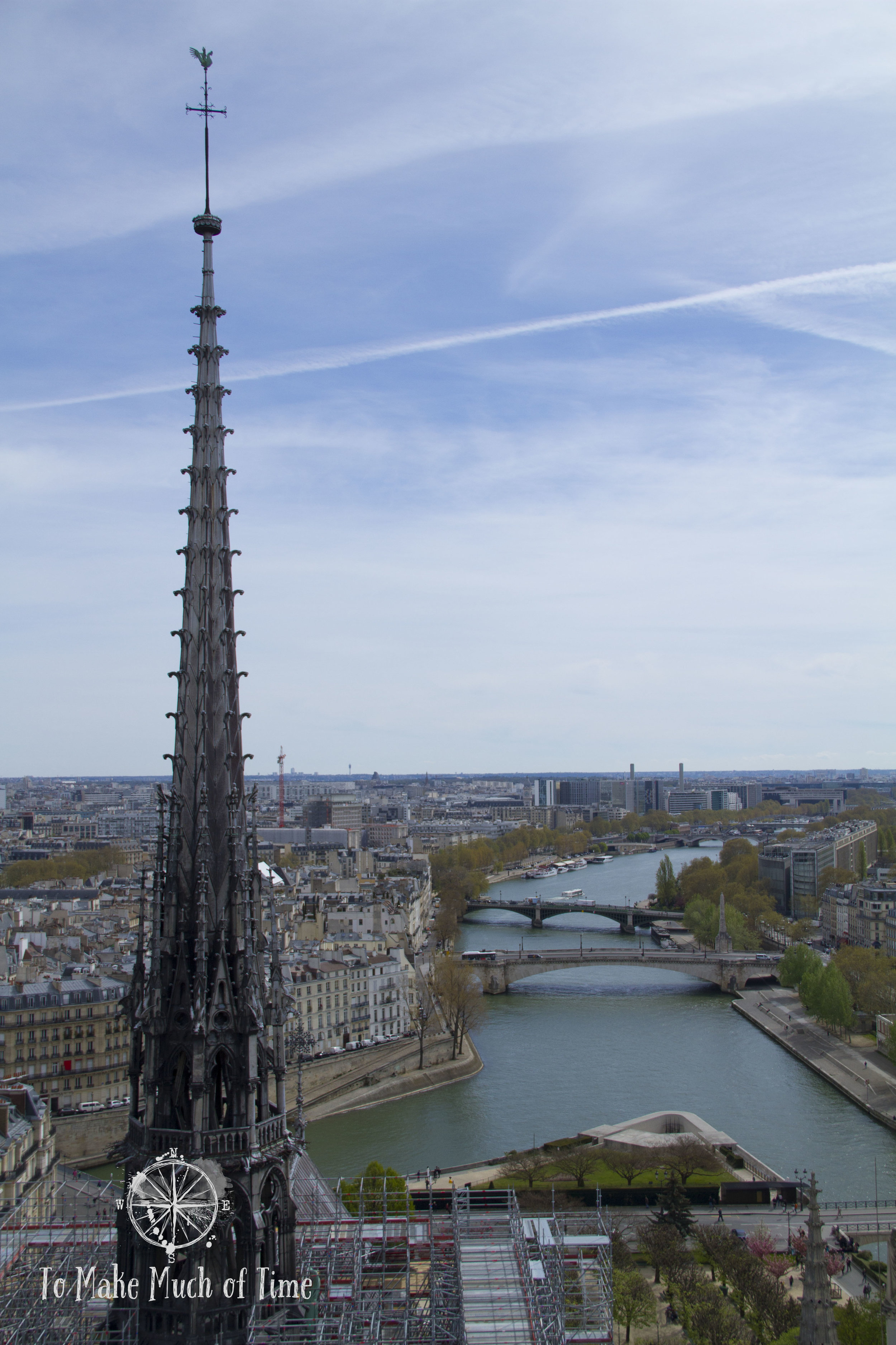 We got a closer view of the Notre-Dame spire and down below the Seine winding it's way though Paris.