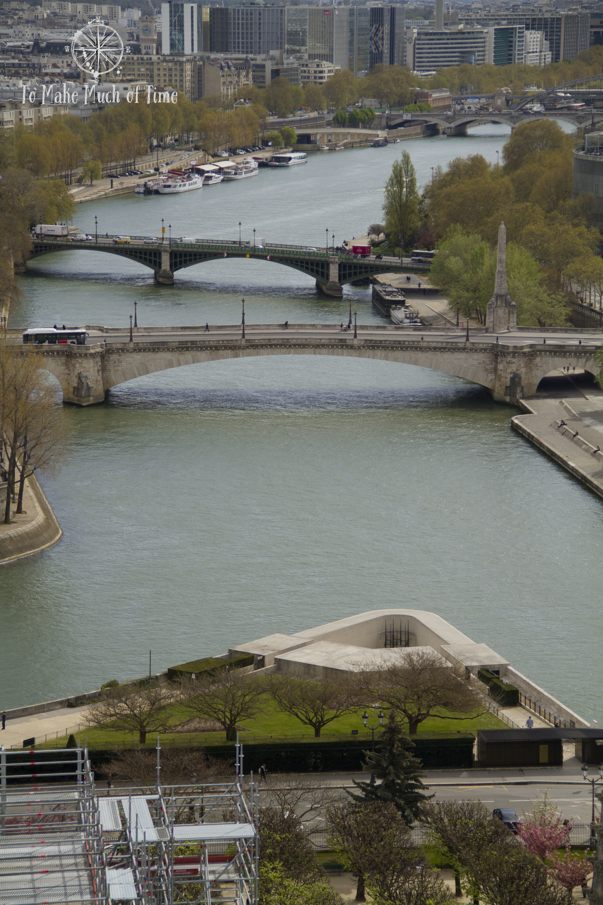 Look down from the top of Notre-Dame and see the Seine far below.