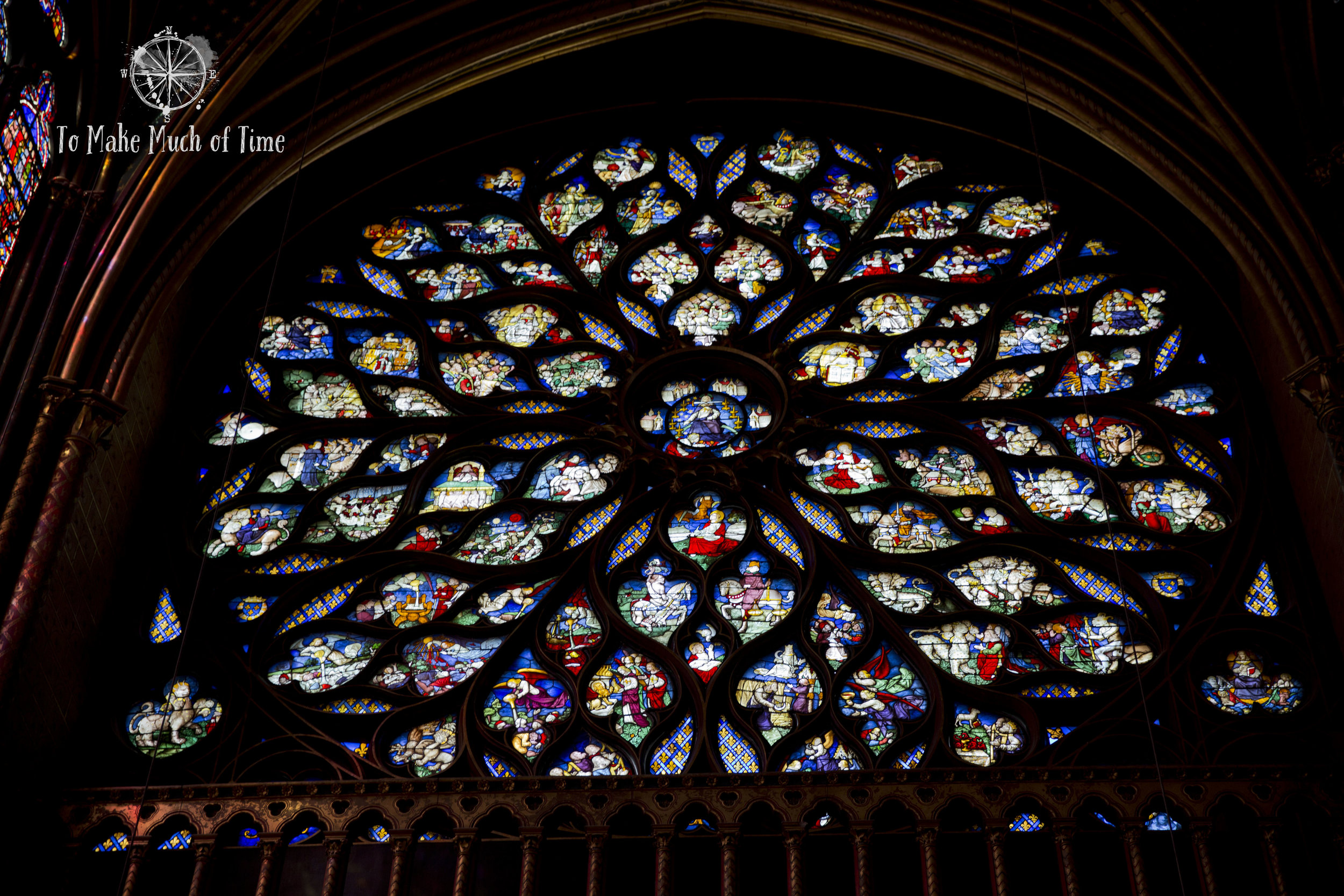 This gorgeous (and massive) rose window is on the front face of Saint-Chapelle.