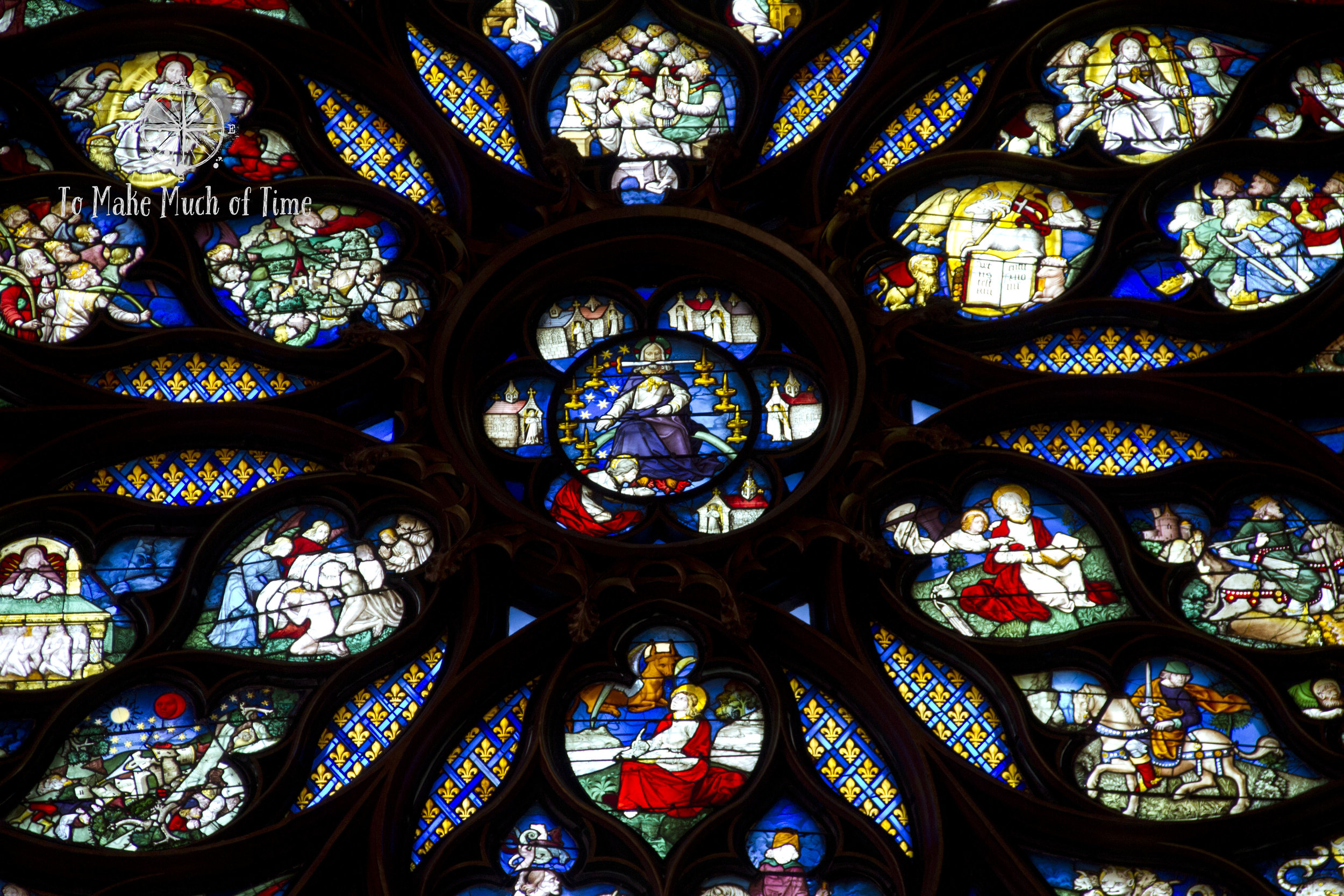 You can see the amazing detail work of the stained glass rose window at Sainte-Chapelle.