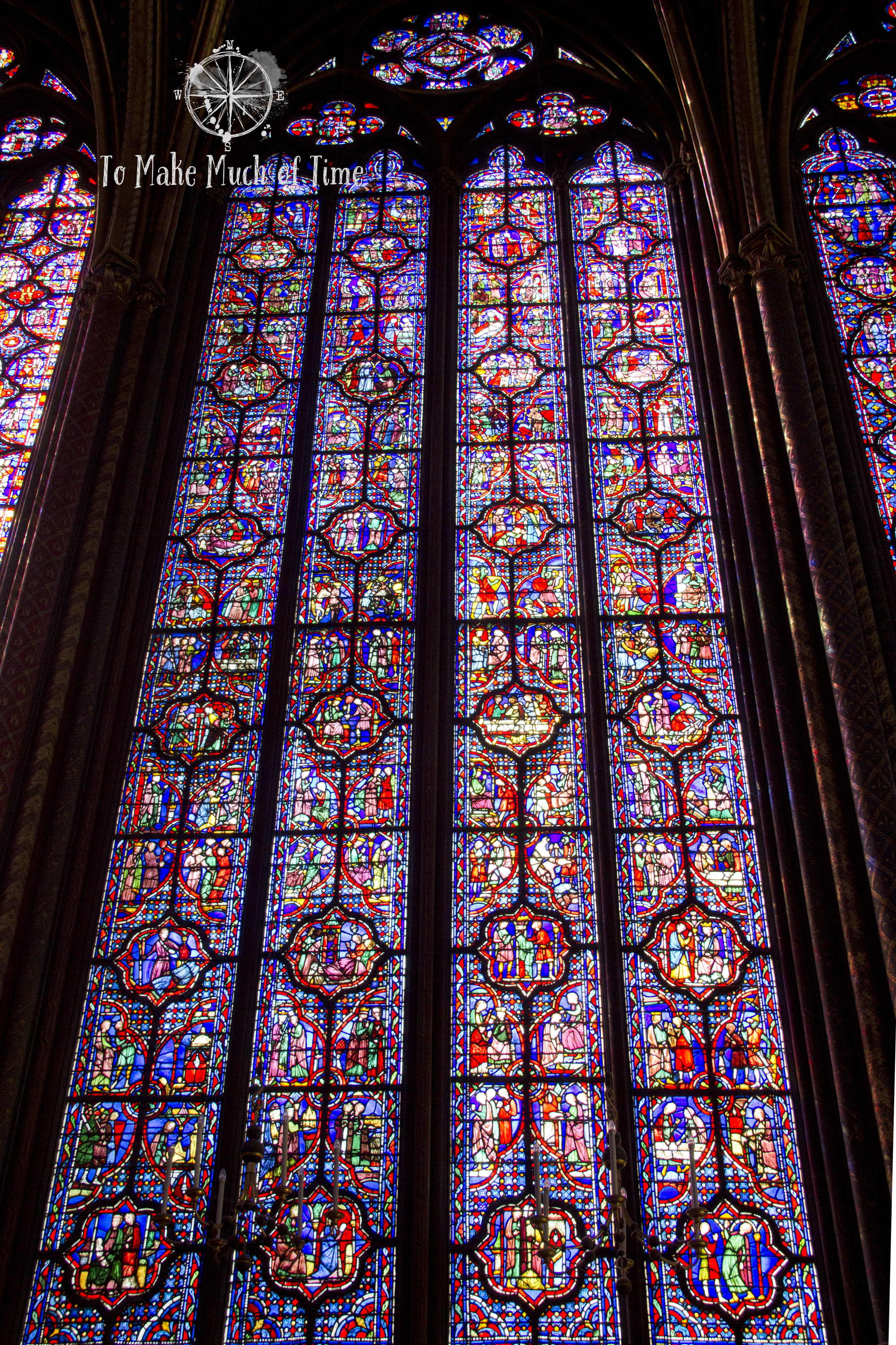 The nearly wall to ceiling stained glass of Sainte-Chapelle