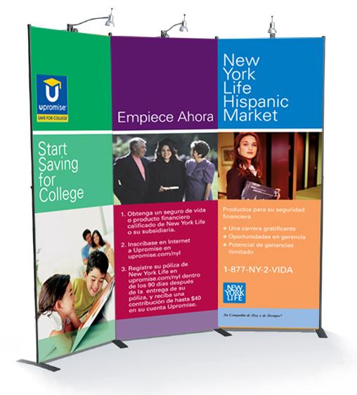 New York Life Hispanic Market promotional display banners.