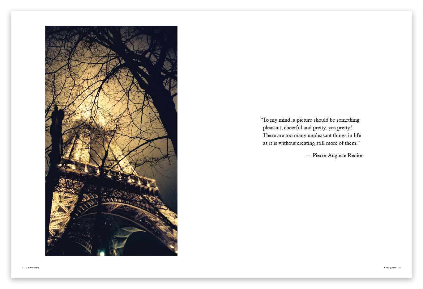 A View of France dedication page design