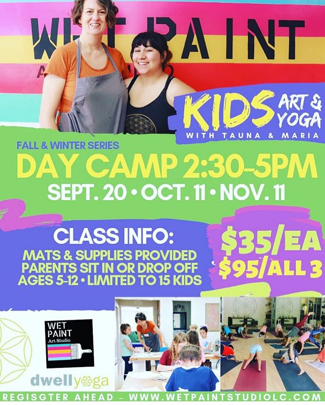 Art and Yoga camp coming up! Join Tauna and Maria for art and Yoga! Class meets 10/11, art theme is mask making 👺🎃👻! Register at  Wetpaintstudiolc.com