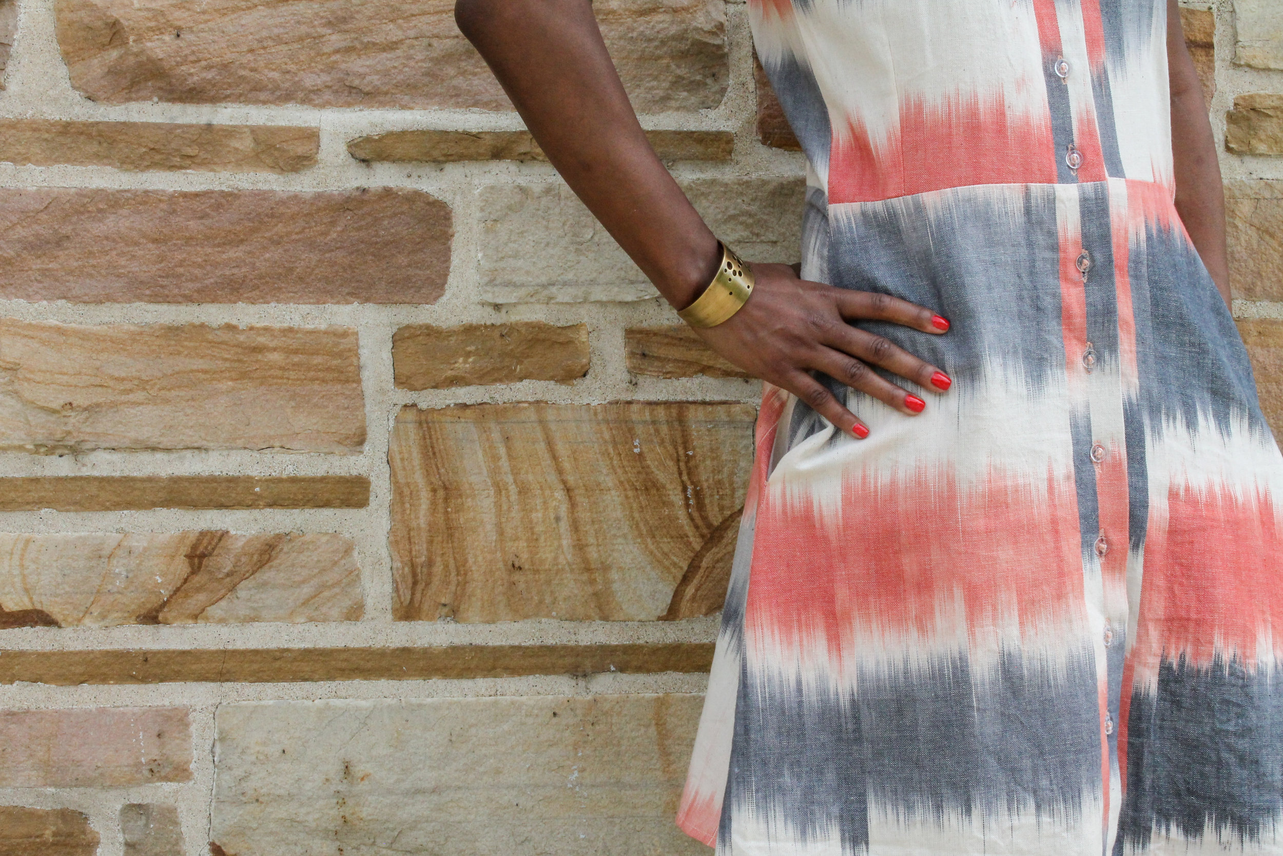 CORAL & BLUE AMBRE IKAT DRESS