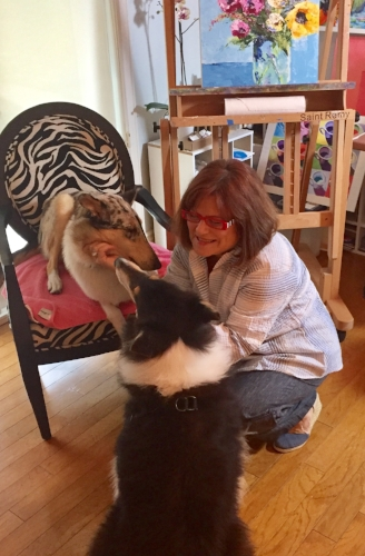 In my studio with my sweet collies, whom I love dearly!